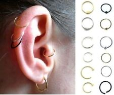Thin Sterling Silver Cartilage Earring Tragus Nose Ring Eyebrow  Hoop Piercing
