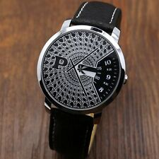 New PAIDU Turntable Dial P Black/White PU Leather Quartz Wrist Watch Unisex Gift