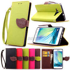 Flip PU Leather Wallet Cash Holder Leaf Magnetic Case For Samsung iPhone LG HTC