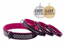 Genuine Leather Studded Dog Collar FREE TAG Pink Puppy Small Medium Large Breeds