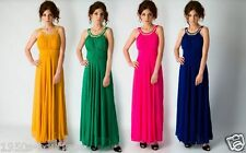 Long Maxi Evening Bridesmaid Formal Party Prom Dress Gown Occasion Size 8 -18 UK