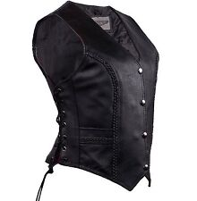 WOMEN'S MOTORCYCLE RIDING LEATHER BRAIDED VEST SIDE LACES GUN POCKET INSIDEBLACK