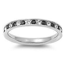 Stainless Steel Eternity Ring Stackable Black & Clear White CZ Stones
