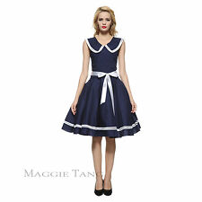 Maggie Tang 50s 60s Pinup VTG Nautical Sailor Rockabilly Swing Party Dress K-526