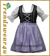 German Bavarian Oktoberfest Trachten 3 Pcs Purple Dirndl Dress,US Sizes: 4 To 18