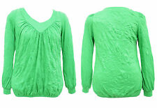 New Women Ladies Gorgeous V Neck Green Long Sleeved Plus Size Top Uk 16 to 28