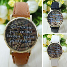 New Simple I Prefer Books Over People Letter Watch Leather Band Unisex