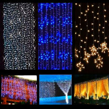 Curtain Christmas LED 300 Lights Outdoor Yard Decor Party String Wedding Window