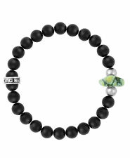 King Baby 8mm Onyx Bead Bracelet with Natural Top Hat Spotted Turquoise K40-5538