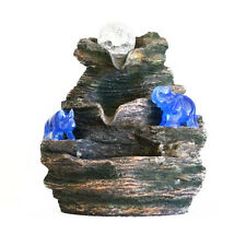 Water Fountain with Blue Rhino and Elephant