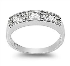 Flat Top CZ Ring, 925 Sterling Silver, Bright, Comfort Fit, Rhodium Plated, Mom