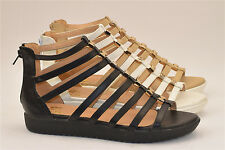 LADIES WOMENS GLADIATOR SANDALS CUT OUT FLAT SUMMER OPEN TOE SHOES BLACK