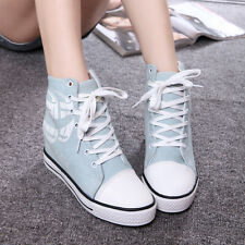 Chic Womens Fashion Sneakers Wedge Inside Canvas Shoes Lace up High Top Boot New