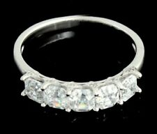 Sterling Silver 2.60CT Cubic Zirconia CZ 5 Stone Asscher Cut Anniversary Ring