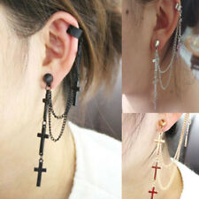 1pc Fashion New Rock Punk Crosses Tassel Chain Ear Wrap Cuff Stud Clip Earring