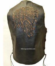 MEN'S MOTORCYCLE BIKERS RETRO BROWN LEATHER VEST NATIVE AMERICAN BACK SIDE LACES