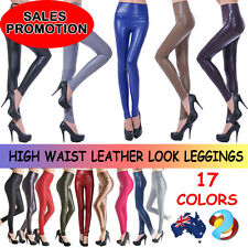 Women High Waist Faux Leather Look Stretch Pants Wet/Matt Black  Leggings XS-L