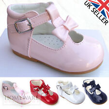 BABY GIRL T-BAR SPANISH STYLE PATENT BOW SHOES SIZE 1-6UK PINK, RED, WHITE, NAVY
