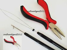 3PC Feather HAIR Extension TOOL KIT-Pliers LOOP HOOK for Micro Beads Extensions