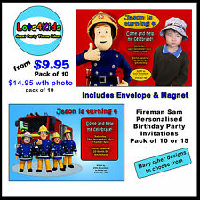 FIREMAN SAM PERSONALISED BIRTHDAY PARTY INVITATIONS PACK OF 10 OR 15