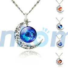 2015 Women Galaxy Universe Moon Glass Cabochon Pendant Necklace Hot