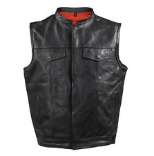 MEN'S MOTORCYCLE RIDING SON OF ANARCHY STYLE LEATHER VEST RED LINING BLACK NEW