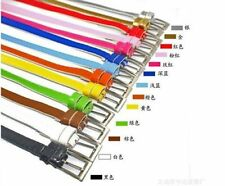 Women Lady Cross Buckle Candy Color Thin Skinny PU Leather Belt