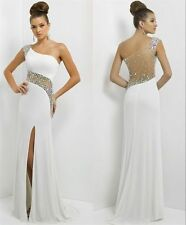White One Shoulder Chiffon Evening Dress Sexy Formal Cocktail Party Prom Dresses