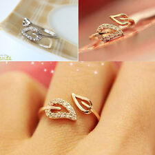 New Fashion Womens Gold Plated Crystal Rhinestone Leaf Finger Ring Chic Jewelry