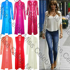 Womens Front Open Lace Crochet Long Sleeves Full Length Ladies Maxi Cardigan Top