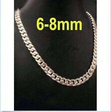Hot New 6MM/8MM Solid 925 Sterling Silver Chain Men's Figaro Necklace 16-24 inch