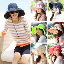 Womens Summer Large Wide Brim Visor Hat Sun Beach Foldable Roll Up Floppy Cap