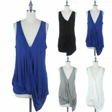 Front Draped Solid Sleeveless V Neck High Low Hem Top Casual Rayon Span S M L
