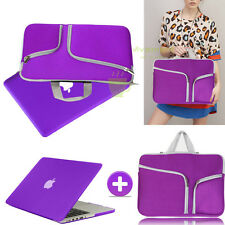Purple Rubberized Case Cover +Sleeve Bag For Macbook Pro 13 Air 11 Retina 15