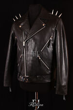 GHOST RIDER BLACK SPIKED Mens Biker Cruiser Style Real Soft Leather Movie Jacket