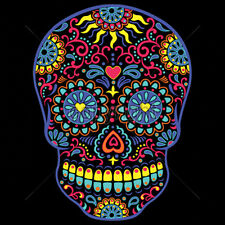 Day Of The Dead Colorful Neon Sugar Skull T-Shirt Tee
