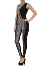 Spandex and Mesh Black and White Graphic Print Bodysuit Jumper