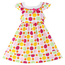 Girls Dress Colorful Dot Cotton Party Pageant Casual Baby Kids Clothing Size4-10