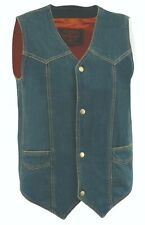 Men's Blue Denim Plain Side Biker Vest w/ Classic Snap Front Design - Gun Pocket