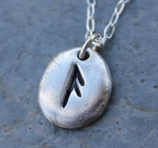 Rune Pebble necklace- Handmade Fine Silver Elder Futhark personalized initial