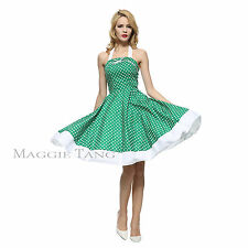 Maggie Tang 50s VTG Halter Housewife Rockabilly Pinup Party Dress 502508513