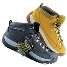 Mens Groundwork steel toe safety Boots Lace Up work ankle Leather dealer boots