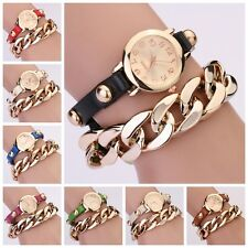 Chic Women's Rivet Golden Dial Faux Leather Band Analog Wrist Watch New