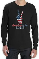 4th of July - USA Patriotic American to The Bone Long Sleeve T-Shirt Peace Sign