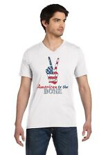 4th of July - USA Patriotic American to The Bone V-Neck T-Shirt Peace Sign