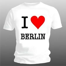 Fun T-Shirt - I LOVE BERLIN, Sizes S up to XXL (to 5XL possible, see Info under)