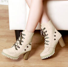Women's Ankle Boots Block High Heels Lace Up Platform ladies boots 2color Oxford