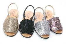 WOMENS LADIES LEATHER MENORCAN GLITTER SLINGBACK SUMMER SANDAL SHOES SIZE 2 -8