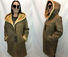 Brown 100% Sheepskin Shearling Leather Lambskin Coat Jacket 3/4 Sleeve XS-5XL