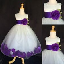 Flower Girl Bridesmaid Ivory Rose Petal Dress Purple Detail ALL SIZES Pageant